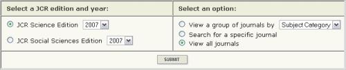 Captura de pantalla del Journal Citation Reports 2007
