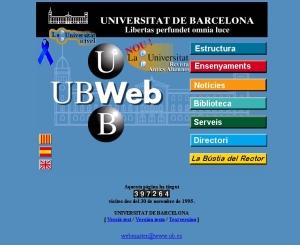 Pàgina web de la Ub l\'any 1997