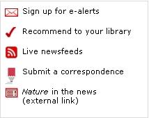 Captura de pantalla d'alguns dels serveis de nature.com